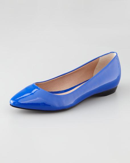 Bre Pointed-Toe Patent Skimmer, Cobalt