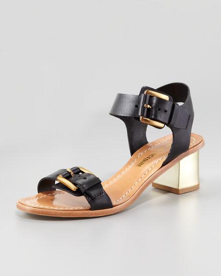 Ilissa Low-Heel Leather Sandal, Black