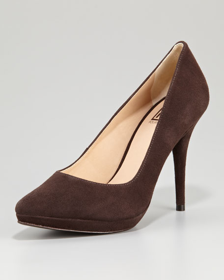 Daina Suede Pointed-Toe Pump, Chocolate