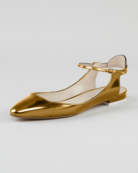 Open-Heel Metallic Leather Flat, Gold