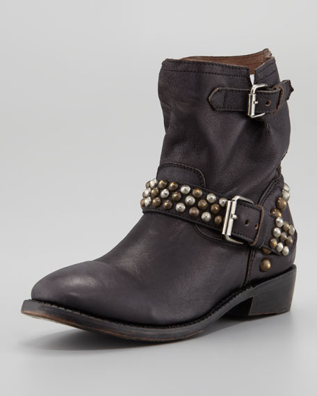 Vicious Studded-Leather Motorcycle Boot, Black