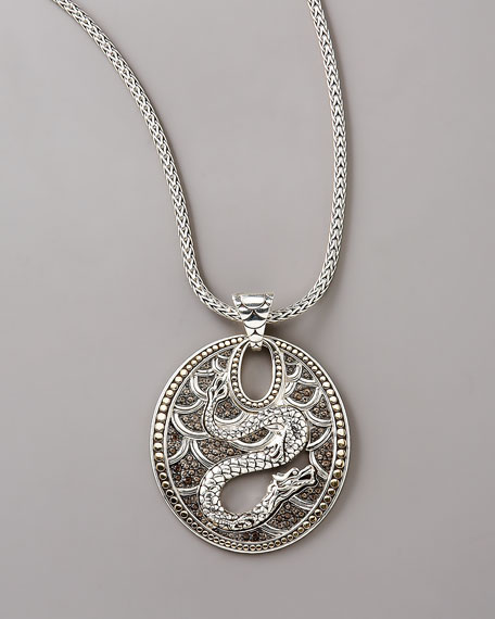 Oval Dragon Pendant & Chain Necklace