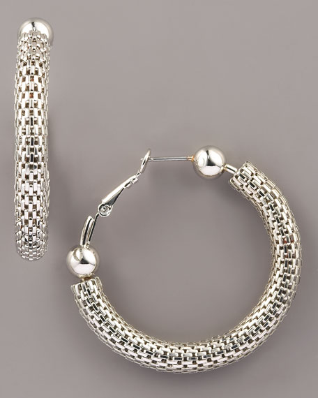 Snake Chain Hoop Earrings, Silver