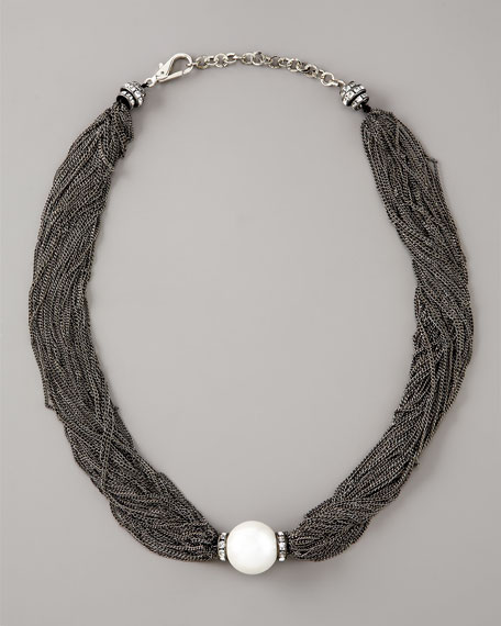 Mesh-Chain Pearl Necklace