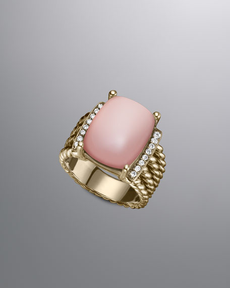 Wheaton Ring with Rose Quartz and Diamonds in Gold