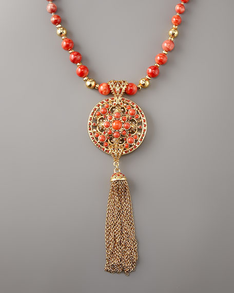 Coral Long Pendant Necklace