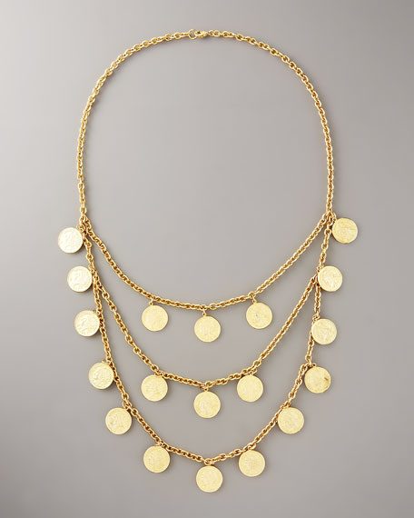 St. Tropez Three-Strand Coin Necklace