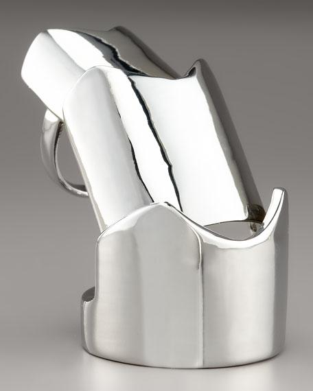 Hinged Plate Ring, Silvertone