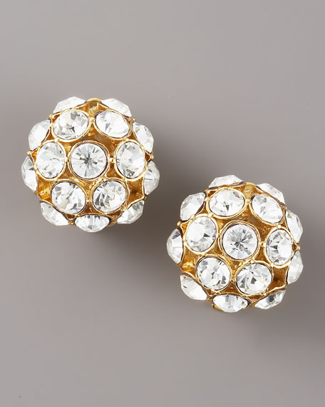 Round Crystal Clip Earrings