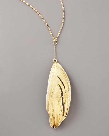 Gold-Dipped Swan Feather Necklace