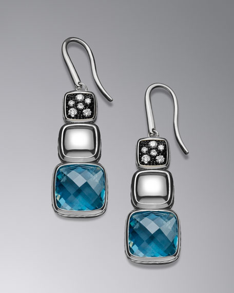Chiclet Triple-Drop Earrings with Hampton Blue Topaz and Diamonds
