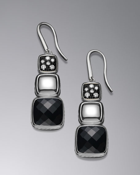 Chiclet Triple-Drop Earrings with Black Onyx and Diamonds