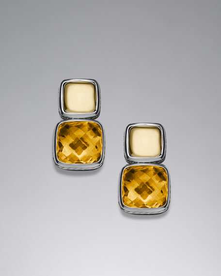 Chiclet Double-Drop Earrings with Citrine