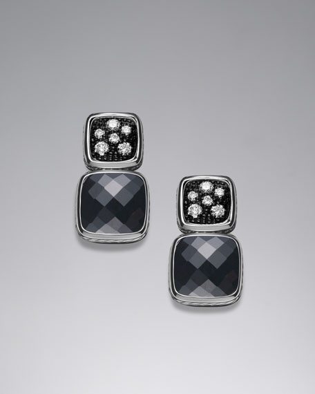 Chiclet Double-Drop Earrings with Hematite and Diamonds