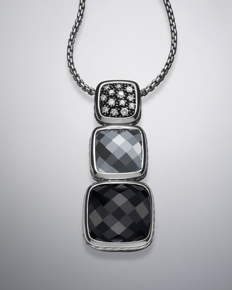Chiclet Large Triple-Drop Pendant on Chain