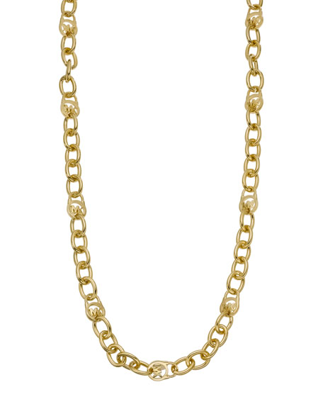Long Logo Necklace, Golden