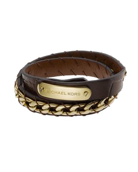 Crocodile-Embossed Wrap Bracelet