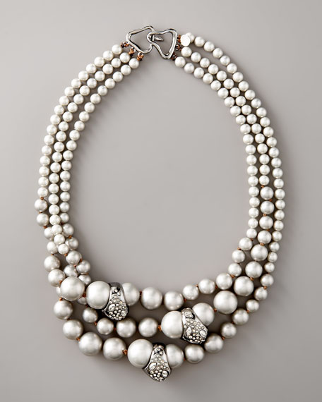 Triple-Strand Pearl Necklace