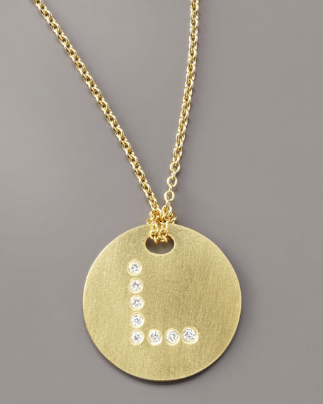 Letter Medallion Necklace, L