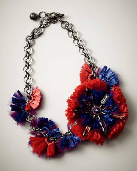 Raffia Flower Choker Necklace