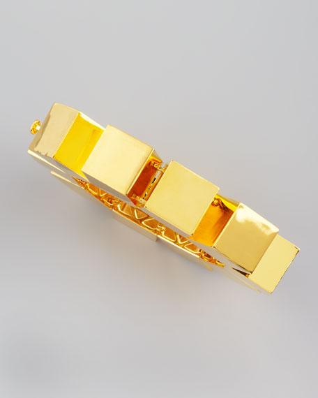 Smooth Cube Bracelet, Gold