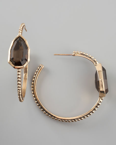 Smoky Quartz Cathedral Hoop Earrings