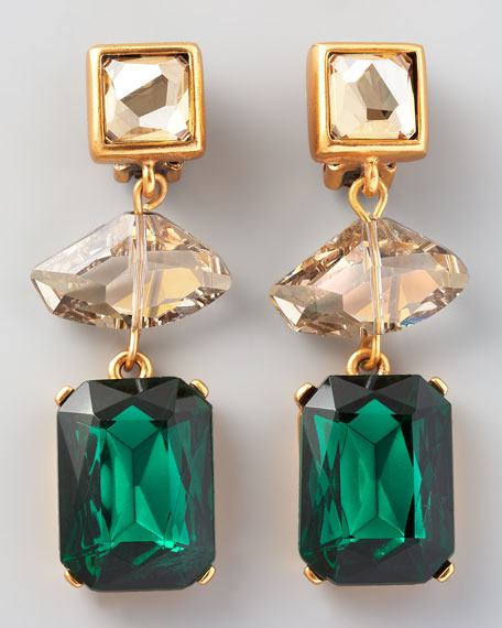 Geometric Crystal Clip Earrings, Green