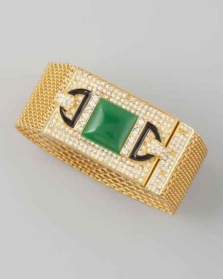 Chain-Maille Bracelet, Green Quartz