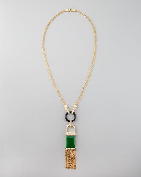 Tassel Pendant Necklace, Green Quartz