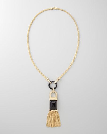 Tassel Pendant Necklace, Black Quartz