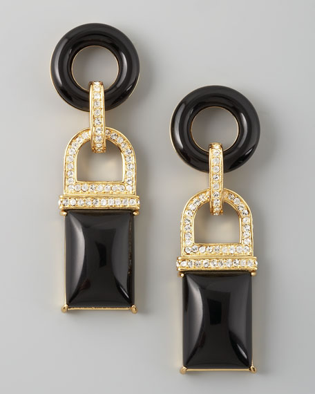 Square Drop Earrings, Black