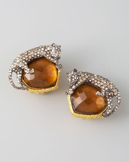 Panther Clip Earrings, Amber