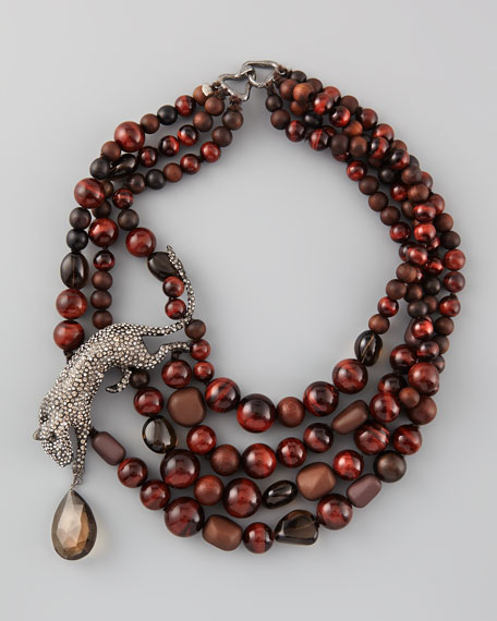 Multi-Strand Panther Necklace