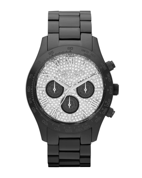 Mid-Size Black Stainless Steel Layton Chronograph Glitz Watch