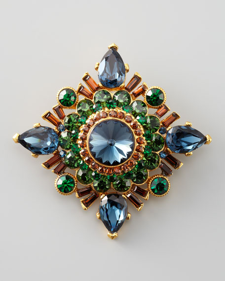 Multicolor Topaz Starburst Brooch