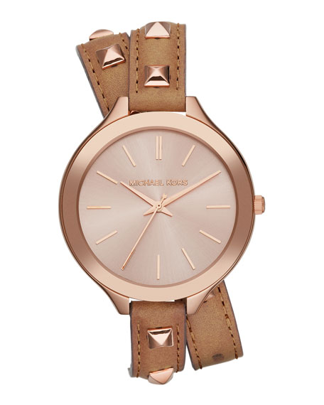 Mid-Size Rose Golden Pyramid-Stud Leather Runway Watch