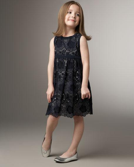 Eyelet Dress, Navy