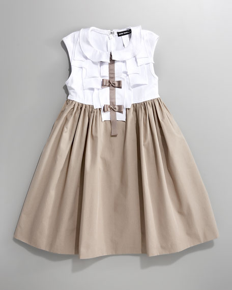 Bow-Detail Combo Dress