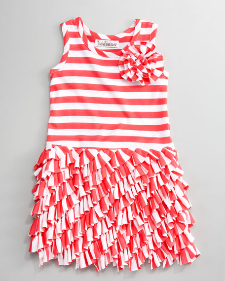 Striped Bias-Ruffle Jersey Dress, 12-14 months