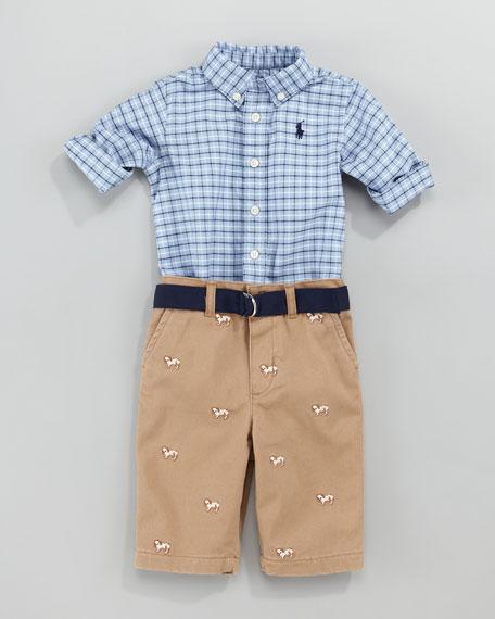Schiffli Shirt & Pants Set, 12-24 Months