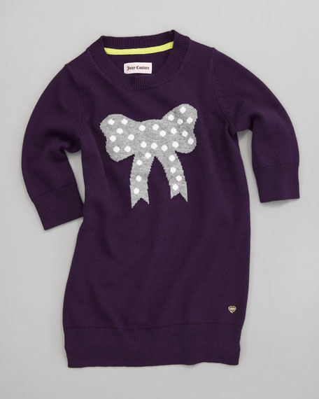 Bow Intarsia Knit Dress