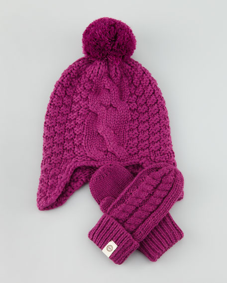 Carissa Cable-Knit Hat & Mittens Set, Sugar Plum