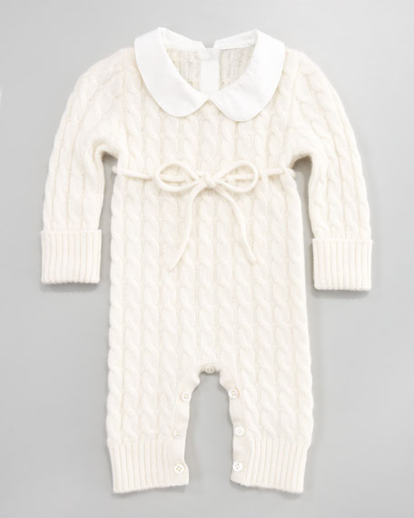 Cashmere Cable-Knit Playsuit, White