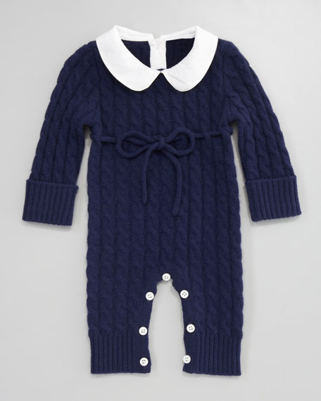 Cashmere Cable-Knit Playsuit, American Navy