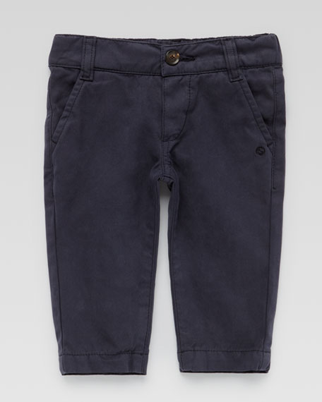 Flat-Front Cotton Slacks, Navy
