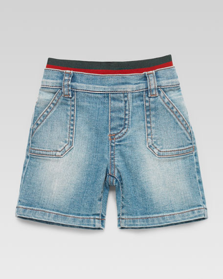 Denim Carpenter Web-Waistband Shorts