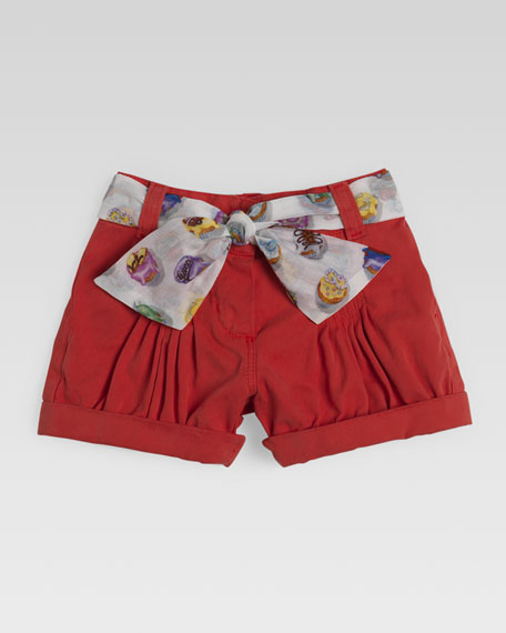 Shorts with Cupcake Sash, Coral