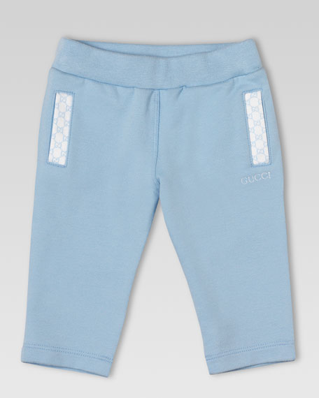 Jersey GG-Trim Jog Pants, Light Blue
