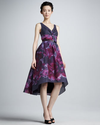 Lela Rose NM + Target Watercolor High-Low Dress Lela Rose Dress Review Dark Purple Floral Dress Target + Neiman Marcus Collection best affordable holiday dress