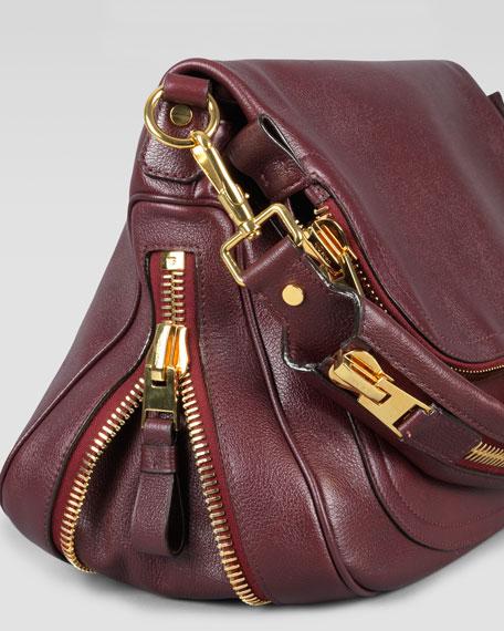 Large Jennifer Flap-Top Bag, Oxblood